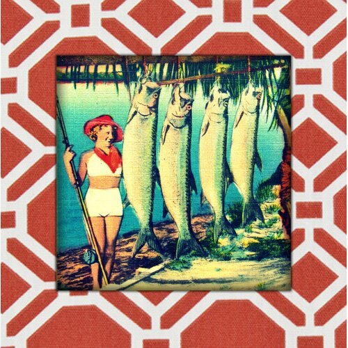 Girl with Fish Painting Print on Canvas