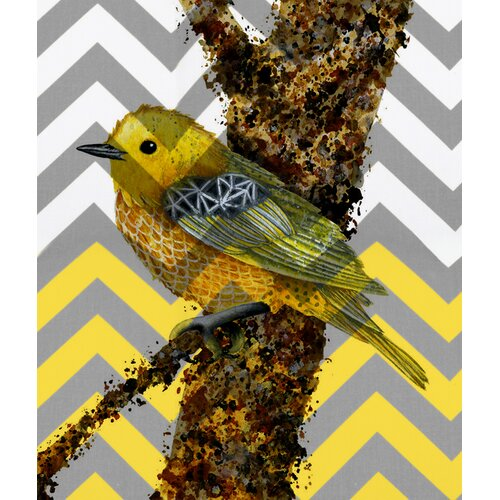 Bird and Tree Gray and Yellow Chevron Graphic Art on Canvas