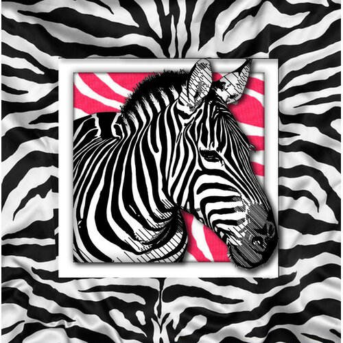 Pink Zebra with White Graphic Art on Canvas