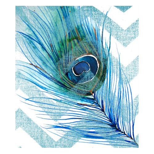 Peacock Feather Left Blue Chevron Graphic Art on Canvas
