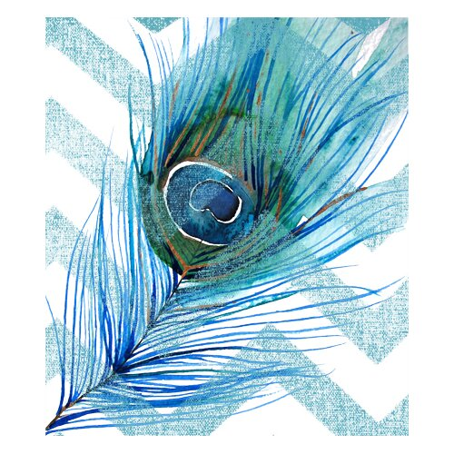 Peacock Feather Right Blue Chevron Graphic Art on Canvas