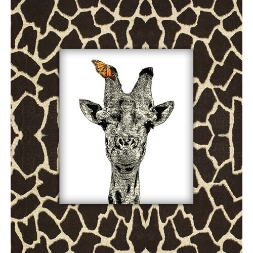Giraffe with Butterfly Graphic Art on Canvas