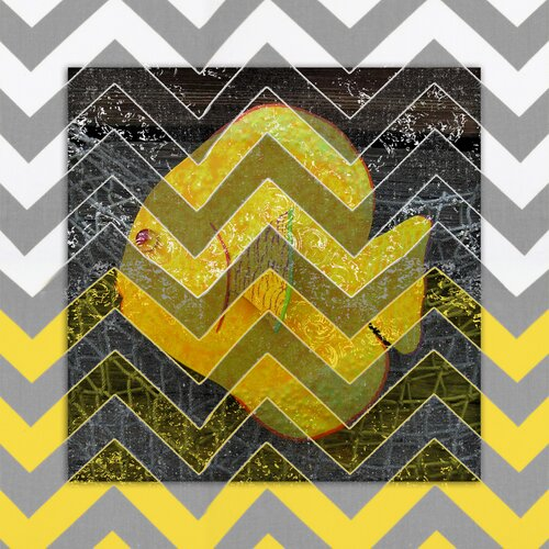 Fish Gray and Yellow Chevron Graphic Art on Canvas in Yellow