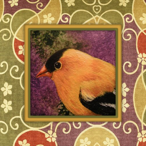 Juxtapose Vintage Bird Graphic Art on Canvas in Green and Purple