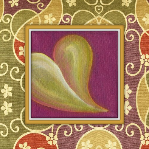 Juxtapose Heart Graphic Art on Canvas in Green