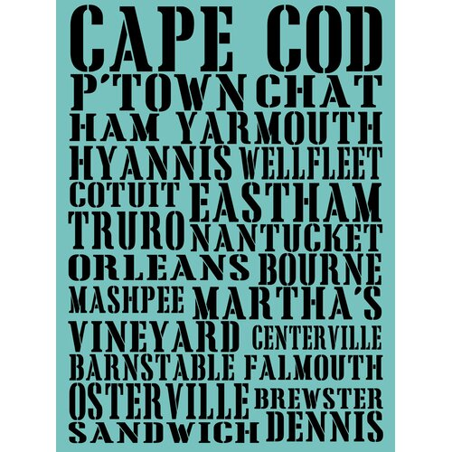 Cape Cod Towns Textual Art on Canvas