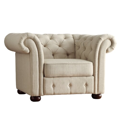 Carthusia Tufted Button Rolled Arm Chair