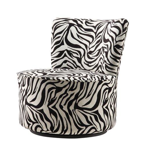 Alfosa Zebra Print Swivel Accent Chair