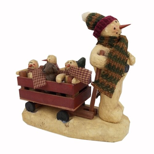 Snowman Pulling Wooden Cart of Snowman Babies and Friends