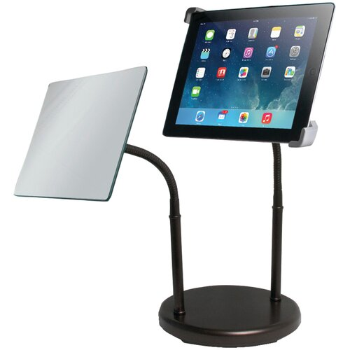 Gooseneck Tabletop iPad Stand with Makeup Mirror