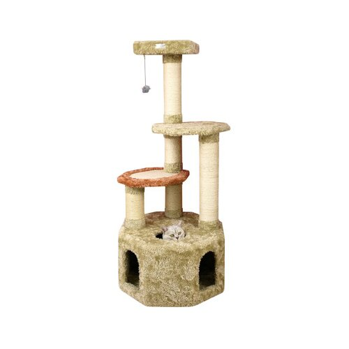 "Armarkat 57"" Premium Soft Heavy Cat Tree in Khaki"