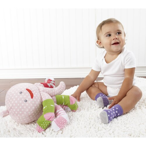 "Baby Aspen ""Mrs. Sock T. Pus"" Plush Octopus with 4 Pairs of Socks in Pink"