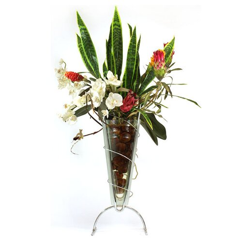 Tropicals and Sansevieria in Glass Metro Vase