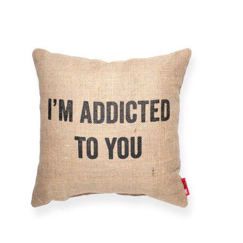 Expressive Addicted to You Decorative Burlap Throw Pillow