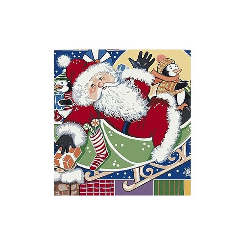 Milliken Winter Seasonal Patchwork Santa Novelty Rug