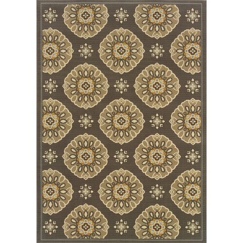 Oriental Weavers Bali Grey/Gold Floral Indoor/Outdoor Rug