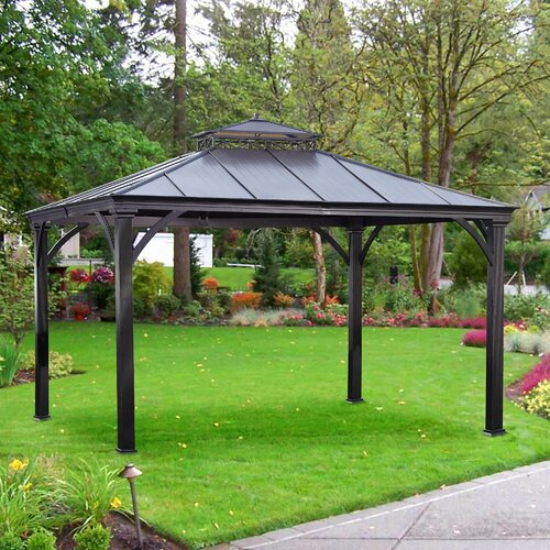 sunjoy marta 12 ft w x 10 ft d aluminum and steel gazebo