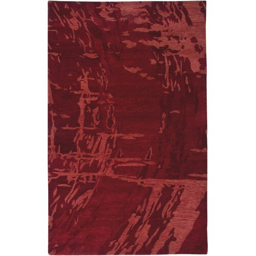 Highland Red Abstract Rug