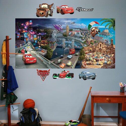 Disney cars 2 wall mural wayfair for Disney cars mural