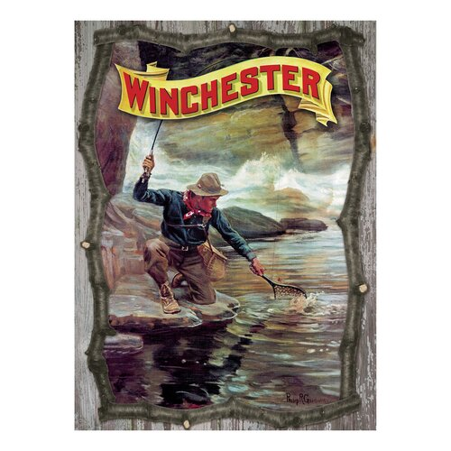 Winchester Fisherman by Stream by Phillip R. Goodwin Twig 3D Sign Wall Art