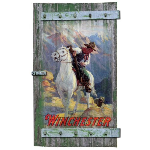 Winchester Cowboy And Grizzly Bear Shutter Sign Wall Art