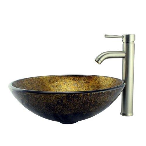 Foil Handcrafted Glass Bowl Vessel Bathroom Sink