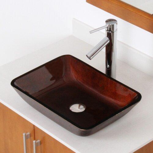 Flat Bathroom Sink : Hand Painted Foil Rectangle Flat Bottom Vessel Bathroom Sink
