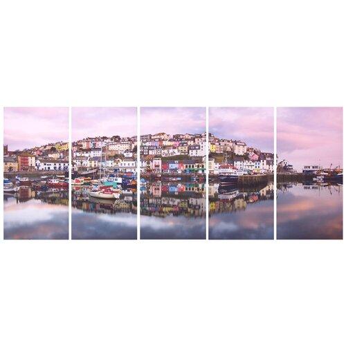 Graham & Brown Graham and Brown Brixham Harbour 5 Piece Photographic Print on Canvas Set