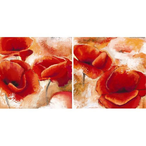 Graham & Brown Graham and Brown Poppies 2 Piece Painting Print on Canvas Set