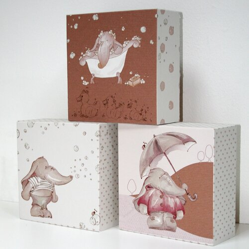 Graham & Brown 3 Piece Eleflump Block Canvas Art Set