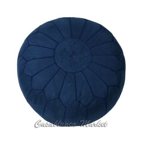 Moroccan Suede Leather Pouf Ottoman