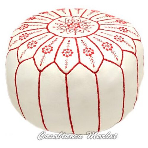 Moroccan Embroidered Pouf Ottoman
