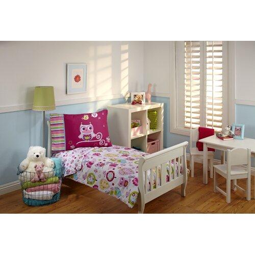 4 Piece Hoot Hoot Toddler Bedding Set