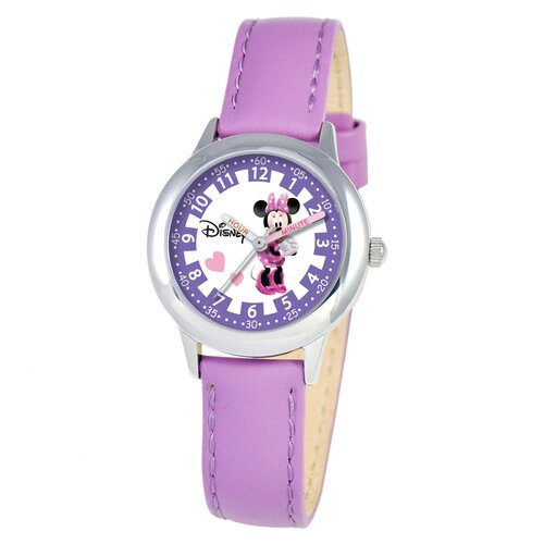 Disney Watches Kid's Minnie Mouse Time Teacher Watch in Purple Leather