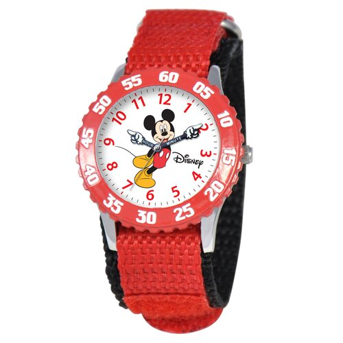 Disney Watches Kid's Mickey Stainless Steel Time Teacher Watch in Red