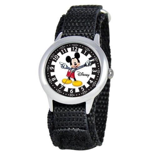 Disney Watches Kid's Mickey Time Teacher Velcro Watch in Black