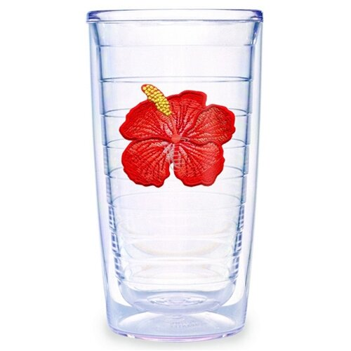 Garden Splendor Hibiscus 16 oz. Insulated Tumbler (Set of 4)