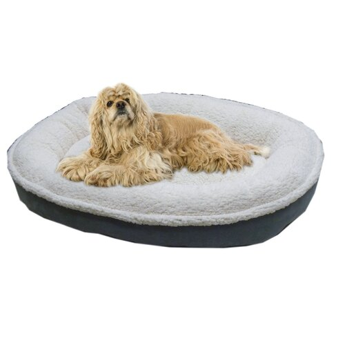 Zoey Tails Cloud Sherpa and Faux Suede Comfy Cup Dog Pillow