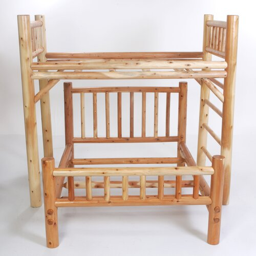 Moon Valley Rustic Nicholas Twin over Full L-Shaped Bunk Bed with Built-In Ladder