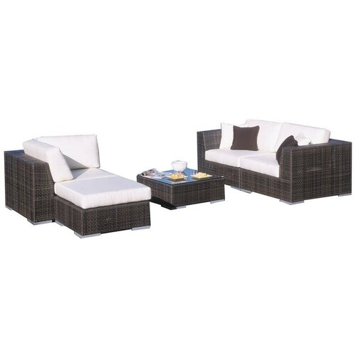 Soho 5 Piece Deep Seating Sectional with Cushions