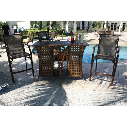 Hospitality Rattan Chub Cay Patio 3 Piece Bar Height Dining Set