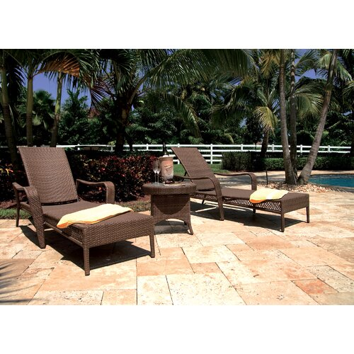 Grenada Patio Chaise Lounge and End Table Set with Cushion