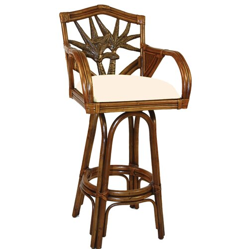 "Hospitality Rattan Cancun Palm Swivel 30"" Bar Stool"