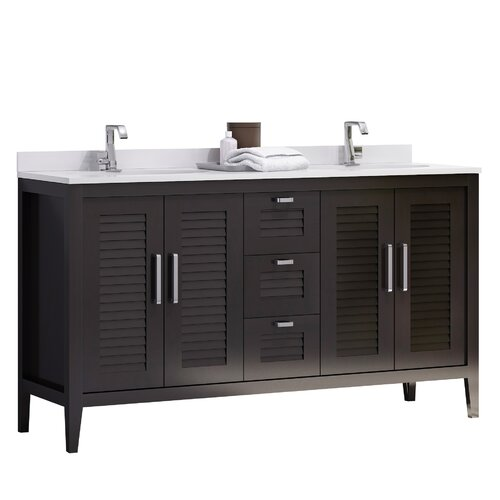 Hispania home madrid 60 quot double sink master bathroom vanity set