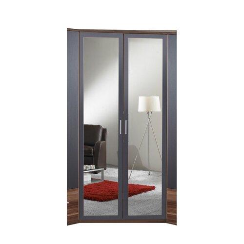 Chicot corner 2 door mirrored wardrobe wayfair uk for 1 door mirrored corner wardrobe