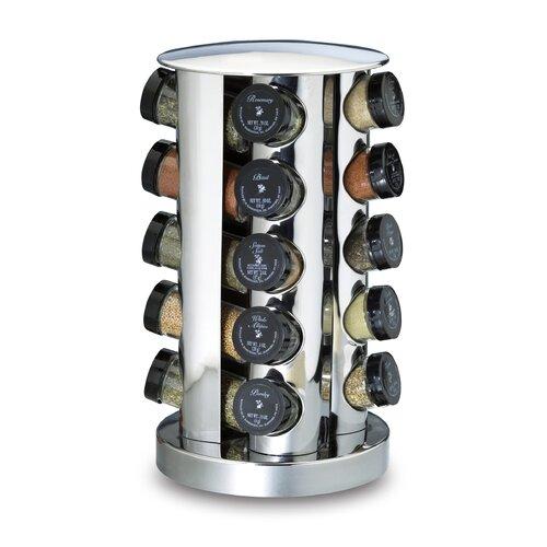 Kamenstein 20-Bottle Revolving Spice Tower in Stainless Steel