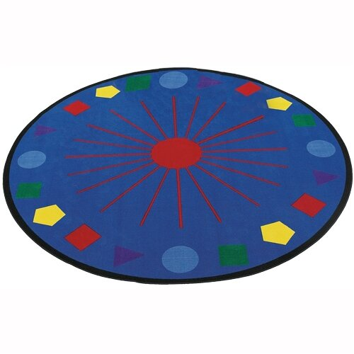 Flagship Carpets Educational Blue Shapes Galore Area Rug