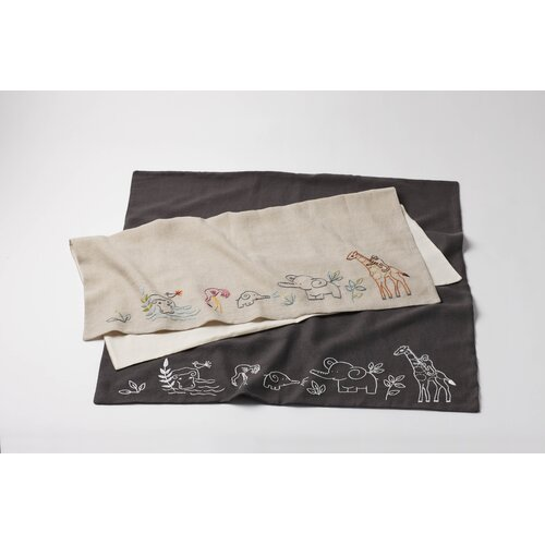 Critter Embroidered Linen Receiving Blanket