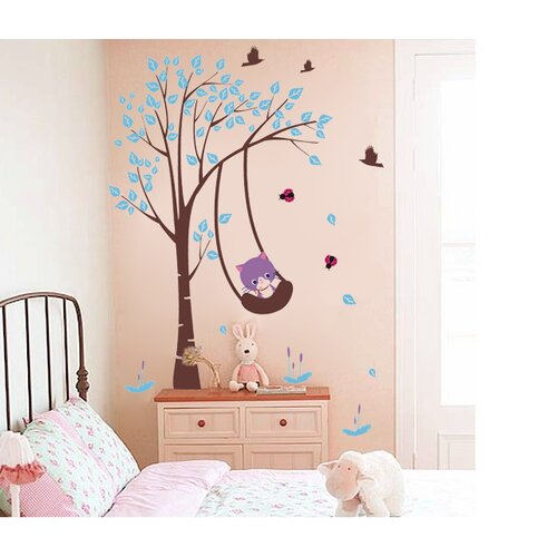 Pop Decors Funny Cat Plays Swing Removable Vinyl Art Wall Decal