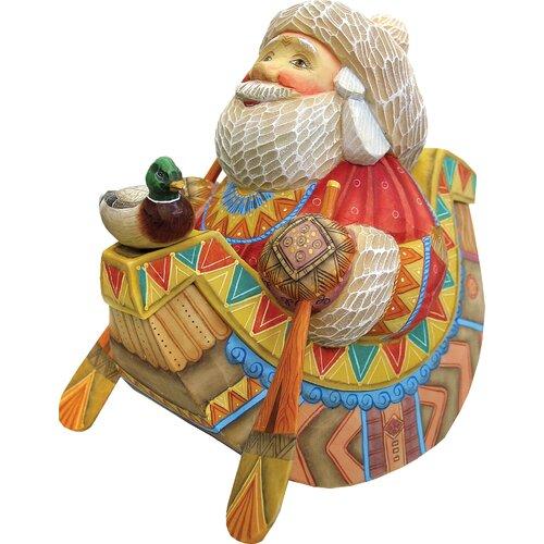 Derevo Canoe Santa Figurine